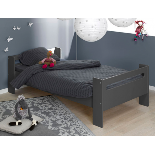 Lit enfant bas London Anthracite 90x190 cm + Matelas